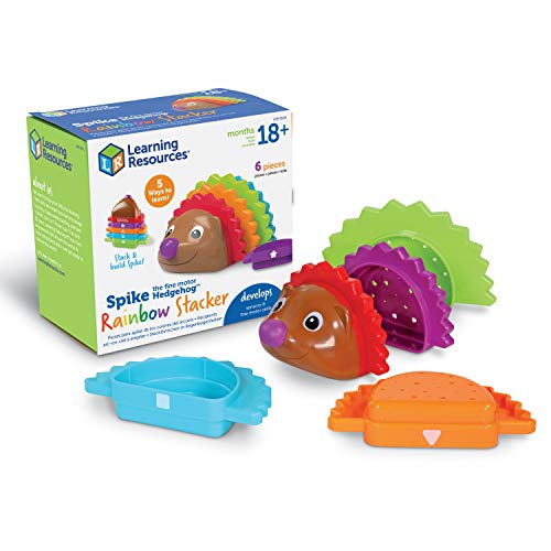 Learning Resources Spike The Fine Motor Hedgehog Rainbow Stackers, Amazon Exclusive, Stacking & Counting Toy for Toddlers, Ages 2+