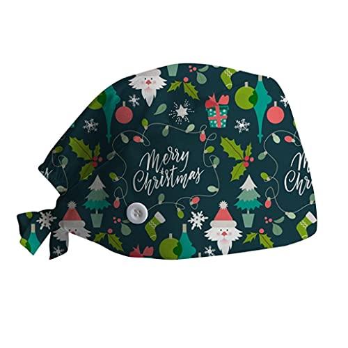 GJKK Unisex OP Haube Kappe Staubmütze Kochmütze Verstellbar Lustig mit Weihnachten Motiv Bandana Krankenschwester Cap OP Kappe Stoff Hut