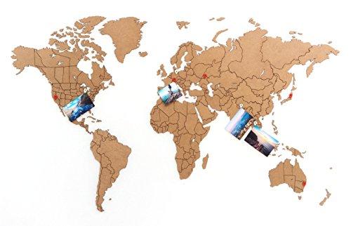 MiMi Innovations - Puzzle de madera de lujo World Map True Puzzle 100 x 60 cm - Marrón