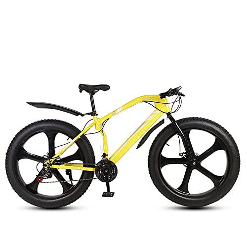 WLWLEO 26 Pollici Mountain Bike per Uomo Adulto,Bicicletta da Spiaggia per Pneumatici Grassi da Neve,Bicicletta Fuoristrada con Forcella Ammortizzata,Bici da Sabbia Antiscivolo,Giallo,24 Speed