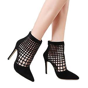 Yanhoo- Scarpe Donna,Sandali Donna, Nuovi Sandali con Tacco Alto da Donna Sexy Stivali Corti Neri con Tacco Alto