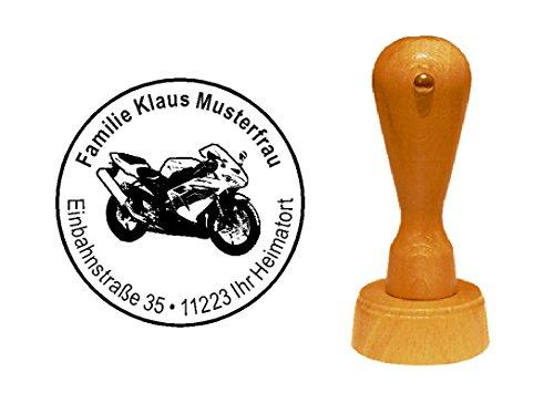 Stempel houten stempel motiefstempel « sportief motorfiets » met persoonlijk adres - biker bike tweewieler motorfiets