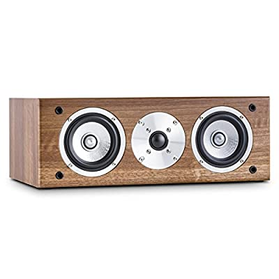 AUNA Line 501-CS-WN Passive Centre Hifi Speaker (60W RMS, 2 x 4 Midrange Drivers & Gold Plated Speaker Connections) Walnut from Auna