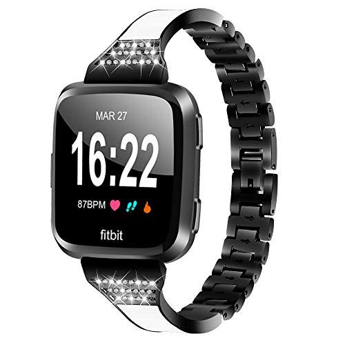 Smart Watch Straps, Geeignet für Fitbit Versa Lite / versa2 Diamant-Set Band fächerförmigen Stahlband Strass Edelstahl-Uhrenarmband,A