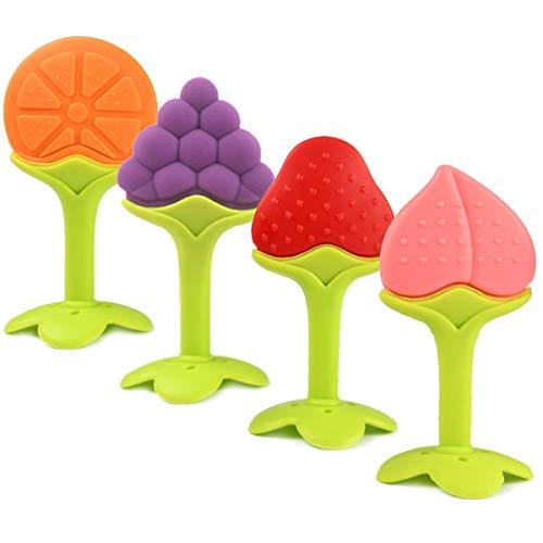 Gresunny 4 stuks baby siliconen bijtring speelgoed natuurlijke fruit kies tanden fopspeen bijtringen massage zachte voor zuigelingen baby's peuters
