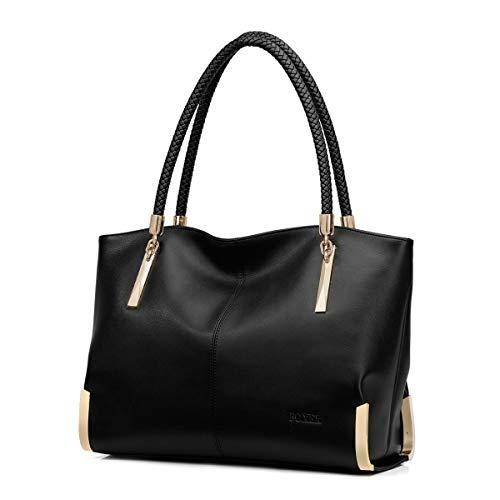 FOXER Leather Handbags for Women, Genuine Leather Large Capacity Zipper Closure Ladies Top-handle Bags Womens Roomy Tote Purses Women's Designer Handbag with Woven Handle Fashion Shoulder Bag (Black)