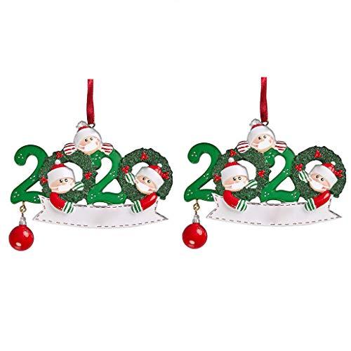 Ldiawnshi Adornos navideños 2020, 2 piezas de adornos navideños personalizados de supervivientes familiares con cara Маsк muñeco de nieve colgante de árbol de navidad para la familia