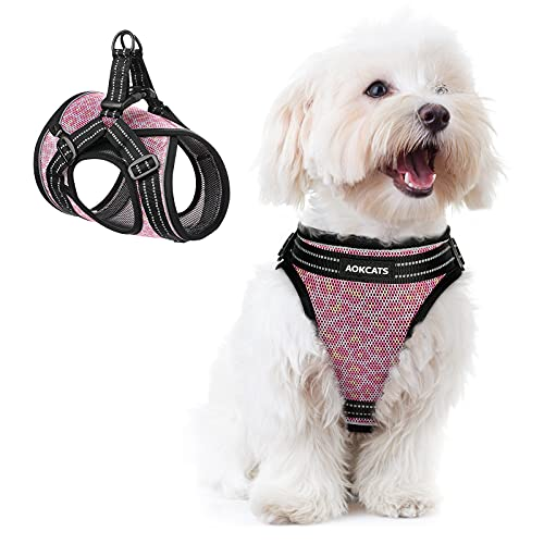 AOKCATS Small Dog Harness, Adjustable Leopard Puppy Harness and Cat Harness Soft Mesh Dog and Cat Universal Harness Reflective Dog Vest Harness Comfort Fit for Puppy Small Medium Dogs and Cat