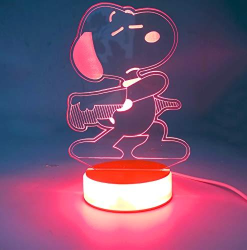 Snoopy Lampe 3D optische Illusion Snoopy LED Nachttischschalter Snoopy Schreibtisch Lampe mit 7-Wechselnden Farben, Acryl-Flachlampe mit USB-Ladegerät-Basis für Ihre Kinder beste Geschenke