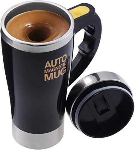 Taza de café eléctrica auto agitación de acero inoxidable, taza magnética auto auto mezcla taza café té cacao leche taza 450ml