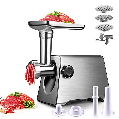 BenRich Picadora de carne, eléctrica para hacer hamburguesas con placas metálicas de 3 tamaños y accesorio de kibbe y accesorio de kibbe, máx. 2800 W para uso doméstico