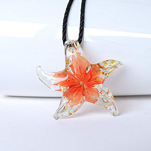 Necklace Starfish Flower Glass Pendant Necklace Bohemian Coker Necklace Women's Beach Jewelry -5
