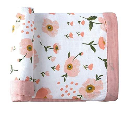 NBWS Mosselin Knuffeldeken, katoen, dubbellaags, baby jongens en meisjes, swaddle & Receiving blanket-uniseks, afmetingen 120 x 120 cm B