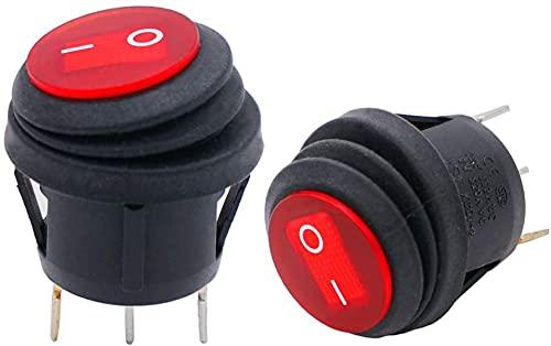 Taiss / 2 Stück kippschalter 12v wasserdicht rundes Wippschalter 3 pin EIN/AUS SPST rote LED-Licht, Für Autos und Boote KCD1-5-101NW-R