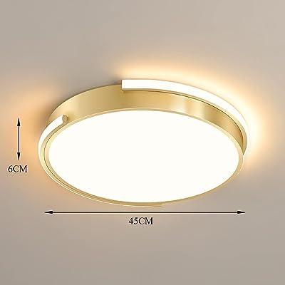 Chambre Plafonnier LED Dimmable avec Télécommande Salon Lampe Plafond 48W 3400LM Rond Or Moderne Simple Luminaire Plafonnier Lampes pour Salle à Manger Salle D'étude Balcon Couloir Cuisine Ø45CM