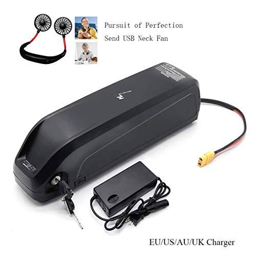 HJF GWC Ebike Battery with USB Motor Mid Drive Electric Bike/Bike Downtube Battery Long Range Battery Lithium Battery for 1500w 1000w 750w Or Other Motor (with Mini Hanging Neck Fan), 36V17.5Ah