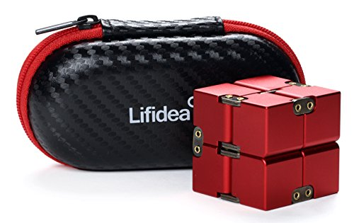 Lifidea Aluminum Alloy Metal Infinity Cube Fidget Cube (5 Colors) Handheld Fidget Toy Desk Toy with Cool Case Infinity Magic Cube Relieve Stress Anxiety ADHD OCD for Kids and Adults (Red)