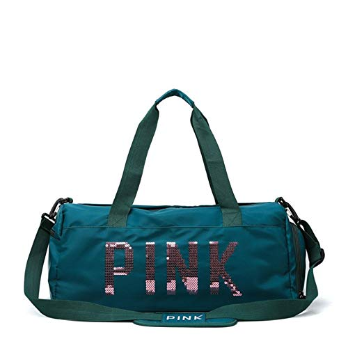 Gym Sports Duffle Bag Sequins Travel Bag Women Fitness Training Bag Dry Wet Separation Shoes Bags for Sports Gym Female Yoga Portable and Durable (Color : Green, Size : One size)