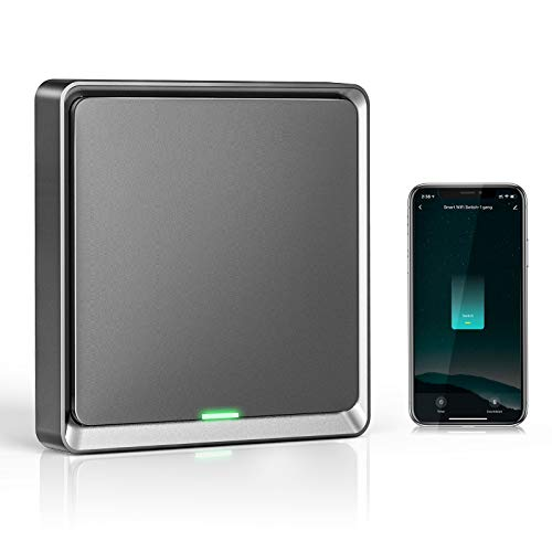Wifi Interruptor Alexa 1 Gang, Etersky Interruptor Inteligente Compatible con Alexa y Google Home, Interruptor Pared Luz Control APP, Smart Home Interruptor Tactil con Temporizador, Neutral Requerido