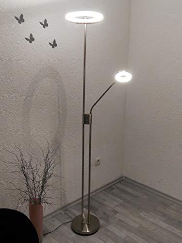 Dapo LED-Stehleuchte-Deckenfluter Liam dimmbar Farbe Nickel, mit Lesearm Wohnraum-Arbeits-Lese-Leuchte Gang-Flur-Leuchte