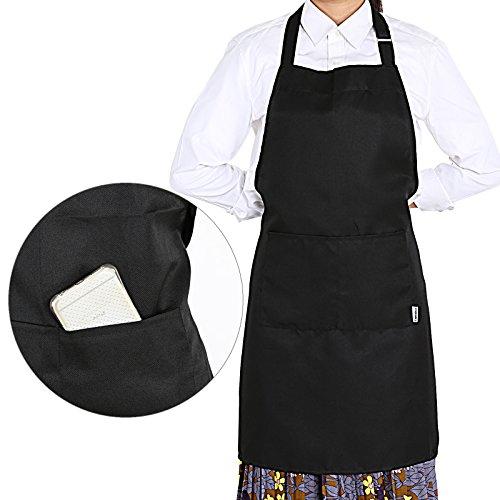 GWHOLE Delantal Cocina Impermeables con 2 Bolsillos Negro