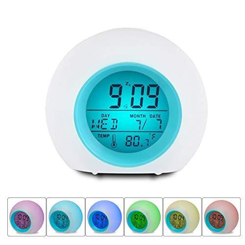Lancardo Digitale led-wekker voor kinderen en volwassenen, 7 kleuren veranderen, daglicht, snooze, temperatuur nachtkastje, nachtlampje