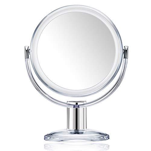 Gotofine Miroir de Maquillage 10x Grossissement, Miroir de Table Doubleface Muni d'un Pied avec Rotation à 360 Degrés - Clair et Transparent