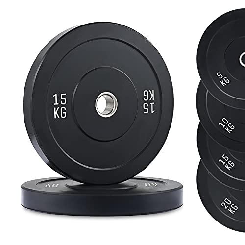 ZELUS Juego de 2 Discos de Pesas 15KG con Orficio de 50mm Discos Olimpicos para Pesas con Insertos de Acero Inoxidable Disco de Peso para Entrenamiento de Fuerza