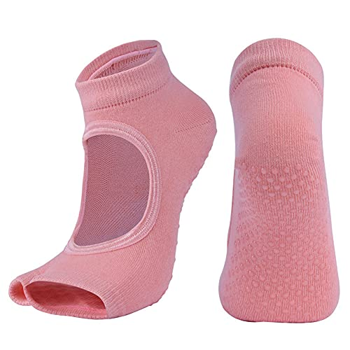 FDSVCSXV 3 Pares para Mujer Yoga Pilates Calcetines Antideslizantes con empuñaduras, calcetín de Tobillo para Barre, Deportes, Ballet, Danza,Naranja,One Size
