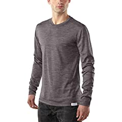 [ ULTRALIGHT LONG SLEEVE CREW NECK SHIRT ] Flatlock seams, tagless interior, low bulk athletic fit. Merino / elastane construction for extra stretch, odor resistance, moisture wicking, itch free, 4-season comfort. [ MODERN FIT FOR DAILY WEAR AS A NEX...