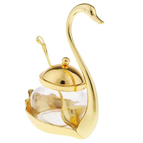 dailymall Glas Küche Gewürz Salz Pfeffer Zuckerglas Flasche Schwan Design Seasoning Ball - Gold