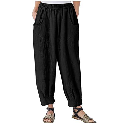 iHHAPY Women's Bloomers Harem Pants Sweatpants Plus Size Wide Leg Summer Trousers Ankle-Length Comfort Straight Pants