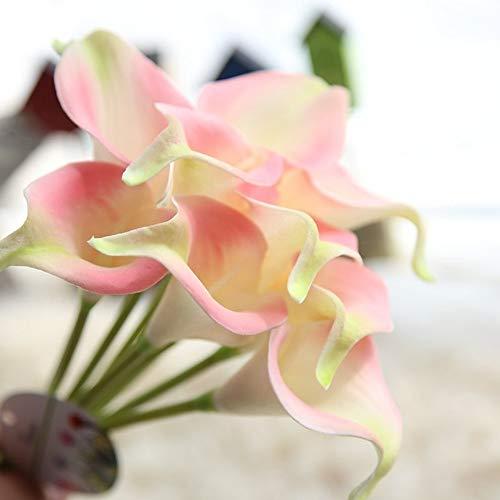 Kunstbloemen, 8 takken, kunstbloemen, decoratie in landelijke stijl, Calla Lily, eeuwige bloem, tafel, bloem, voor Nieuwjaar, Kerstmis, bruiloft, Valentijnsdag, Moederdag Lichtroze.