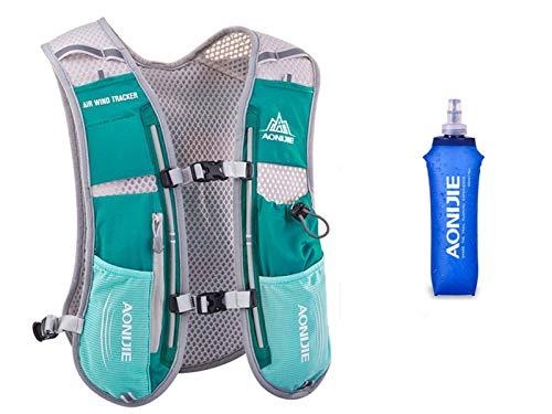 Win.Deeper 5 Litri Confezione idratazione Zaino da Ultra da Corsa Maratona (Hellblue - con 1 Borraccia da 500 ml)
