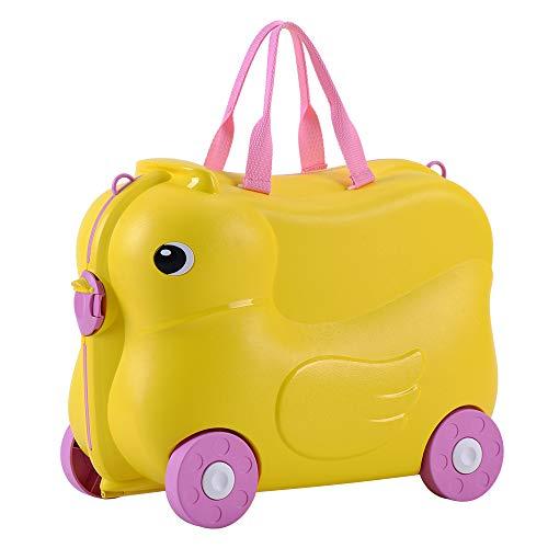 Merax キズ用 スーツケース 子ども乗れる キャリーケース キャリーバッグ 座れる かわいい 機内持込 軽量 (ダック, イエロー)
