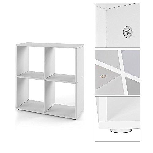 Melko Raumteiler Weiß Bücherregal 4 Fächer Wandregal 70 x 73 x 29 cm Standregal Regal