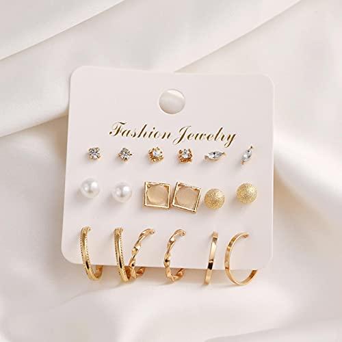FEARRIN Pendientes de Estilo Vintage, Pendientes de aro de Oro Rojo, Conjunto de Pendientes de Perlas geométricas para Mujer, Pendientes de círculo de Metal, joyería Femenina H324-00736