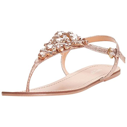 Jeweled Metallic Ankle-Strap Thong Sandals Style Rio, Rose Gold, 5