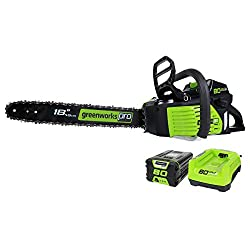 Greenworks PRO 18-Inch 80V Cordless Chainsaw, 2.0 AH Battery Included GCS80420