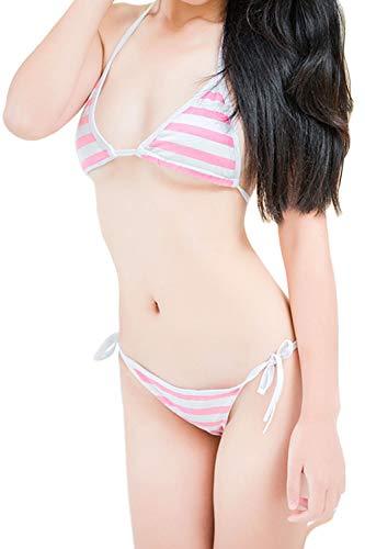 Olanstar Frauen Japanisch Schulmädchen Sexy Cosplay Süß Streifen String Bikini Set