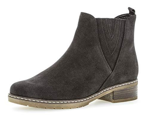 Gabor Damen Chelsea Boots 92.726,Frauen Stiefel,Halbstiefel,Stiefelette,Bootie,Schlupfstiefel,gefüttert,Winterstiefeletten,Blockabsatz 2.5cm,H Weite (Normal),Dark-Grey (Micro),UK 5