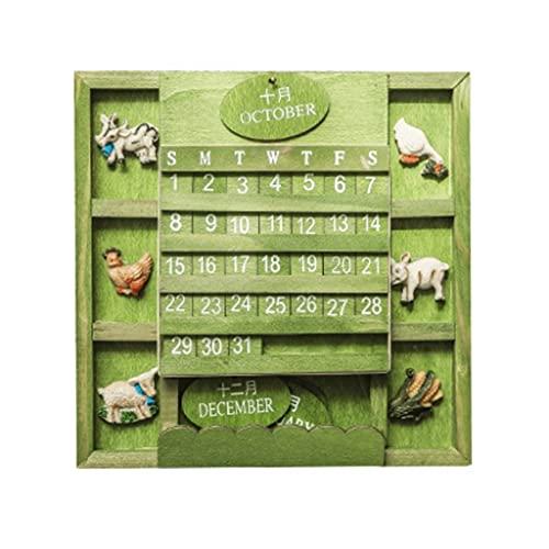 LZL Vintage Calendario Perpetuo Perpetuo Calendario Anual Calendario Shabby Chic DIY Calendario de Pared CUBIERTE Ajustable CUBIERTE DE Espacio Perpetual