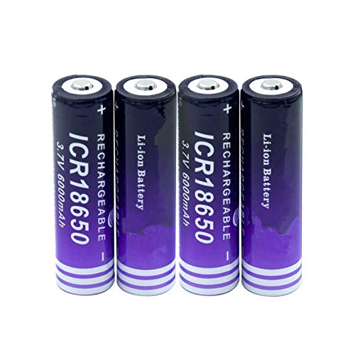 softpoint High Capacity Icr 18650 Button Top Lithium Ion Battery, 3.7 v 6000mah Replacement Cell for Torch Led Light 4pieces