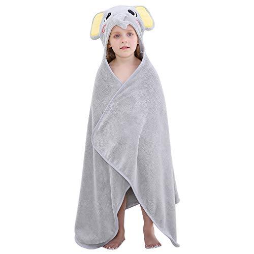 COOKY.D - Toallas de baño para bebé con capucha, albornoz de animales de gran tamaño para niños y niñas, regalo de ducha de bebé perfecto para niños y niñas de 0 a 7 años elefante Talla única