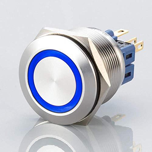 Flacher LED Schalter - Durchmesser Ø 25 mm - aus V2A Edelstahl - staub- und wasserdicht nach IP67 Schutzstandard AC/DC - witterungsbeständig und langlebig - Blau