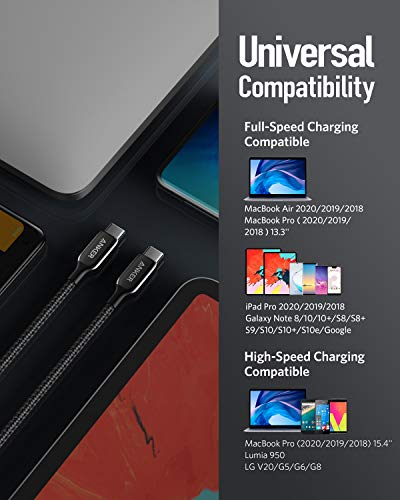 Anker Powerline+ III USB-C auf USB-C Kabel 180cm lang, USB-IF Zertifiziert, 60W Power Delivery PD für MacBook, iPad Pro, iPad Pro 2020,Google Pixel 3a/4 XL und weitere Typ-C Geräte