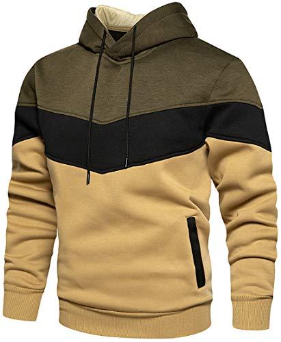PADOLA Unisex Hoodie Patchwork Pullover Herren Farbblock Langarm Sport Sweatshirt Kapuzenpullover mit Tasche(Armeegrün,S)