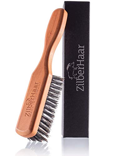 Beard Brush by ZilberHaar - Stiff Boar Bristles - Beard Grooming Brush for Men - Straightens and Promotes beard growth - Works with Beard Oil and Balm to Soften Beard