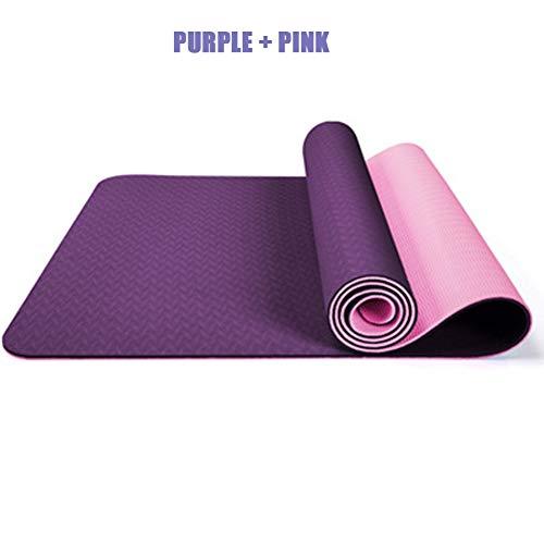 MOZX Tappetino Yoga,Tappetino da Yoga in Gomma Naturale Antiscivolo Tappetino da Yoga Ecologico e Leggero, per Principianti Esercizio di Fitness Tappetino Fitness(183 * 61 * 0.6cm),Purple + Pink