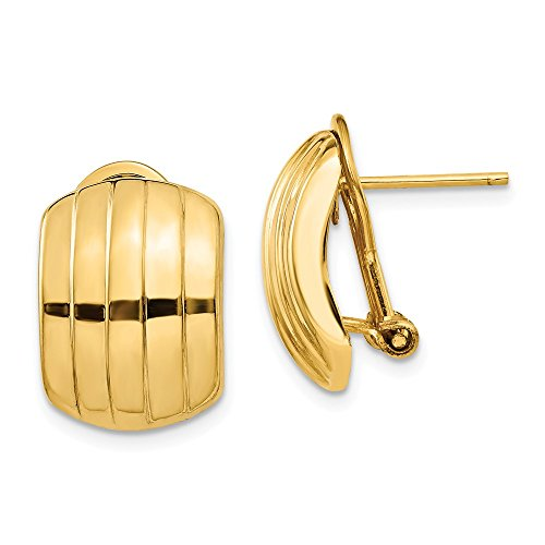 14k Yellow Gold Ribbed Omega Back Post Earrings Fine Jewelry Gift for Women